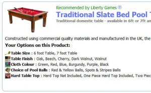 Pool Table Options - Section Listing