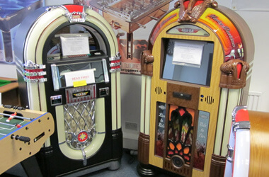 Rock-ola jukebox showroom