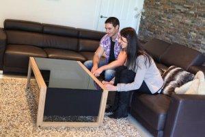 Couple playing arcade machine