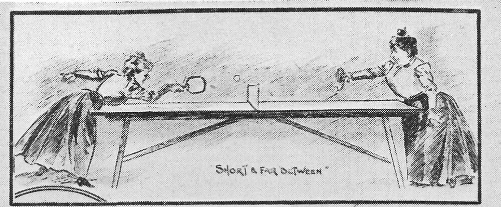 Illustration of two women playing table tennis in early 20th century