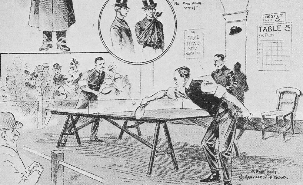 A vintage illustration of the 1st Table Tennis Tournament, 1901