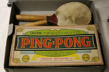 An early ping-ponmg table tennis set