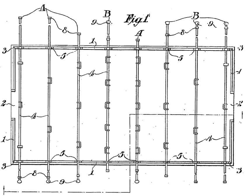 A part of the original foosball patent registered by Harold Searles Thornton.