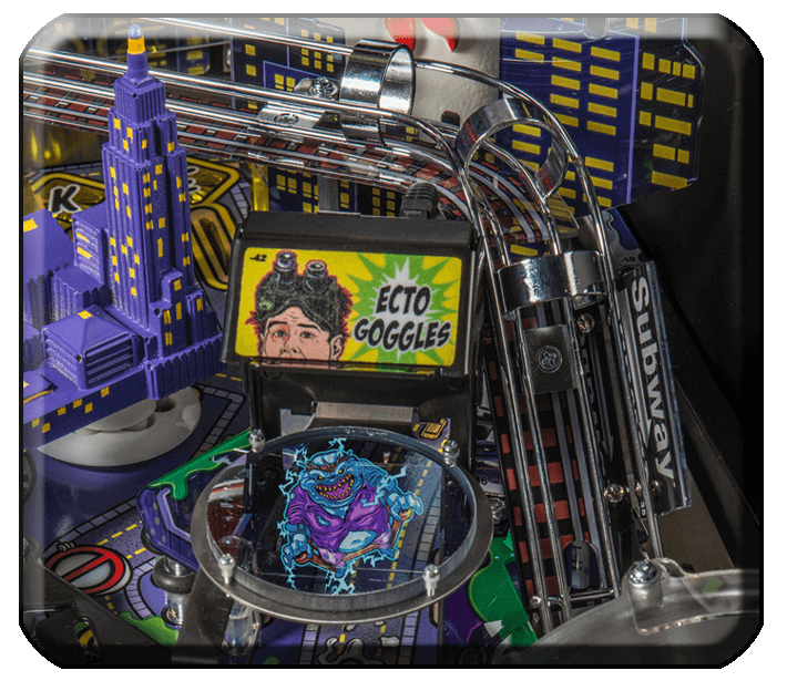 Close-up of the Ecto Goggles holographic target on the Stern Ghostbusters pinball machine.