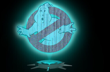 Holographic Ghostbusters logo to illustrate holographic pinball targets