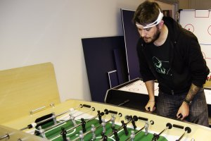 A game of table football played to gather biometric data
