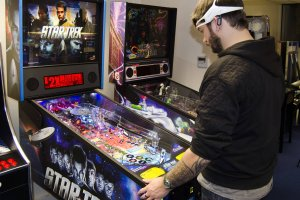 A game of pinball on Star Trek Pro, gathering biometric data