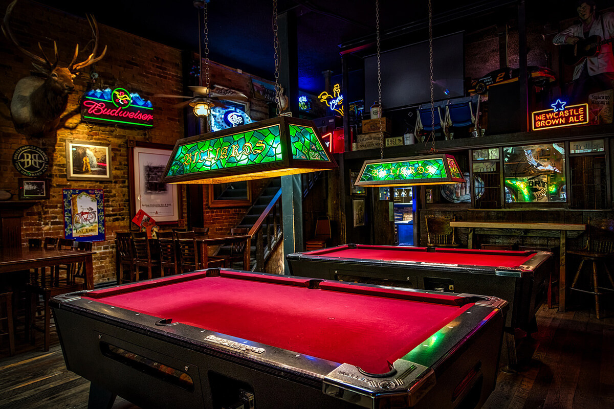 Pool tables in a lavish public bar