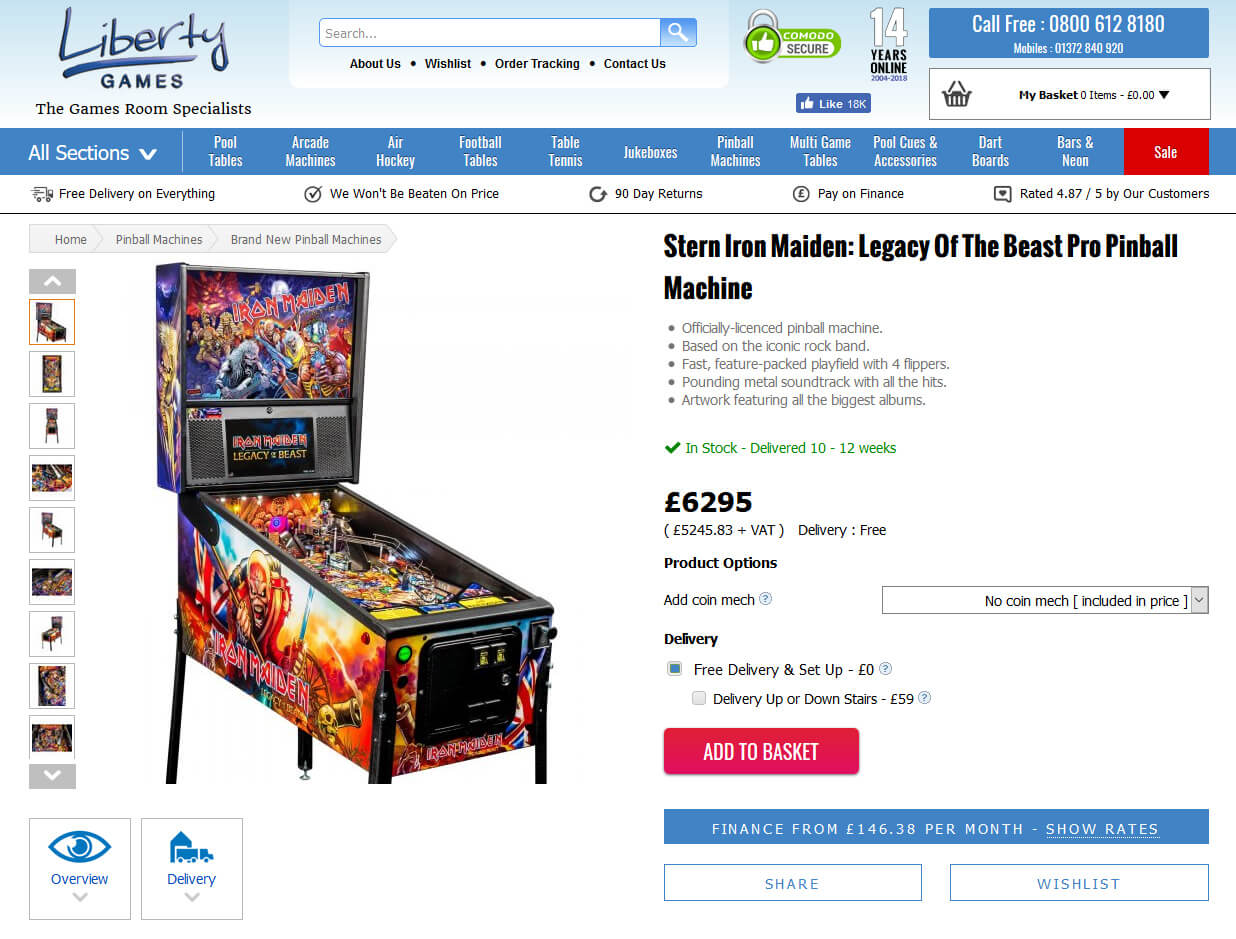 Screen grab of website showing Iron Maiden pinball on sale now