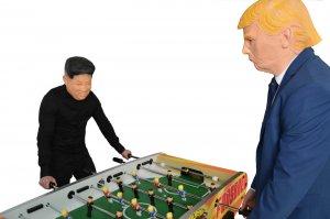 Trump & Kim play foosball