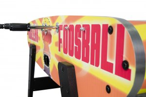 The side of the Nuclear Foosball table
