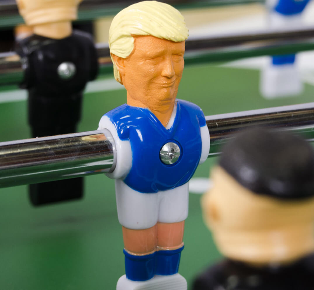 Nuclear foosball trump player figure