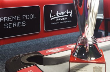 The trophy and branding for the Liberty Games Open tournament