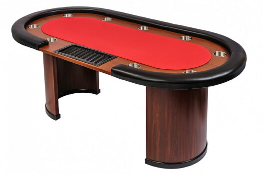 9 Person Casino Poker Table with Dealer Position - Red Top (SB9-RED)