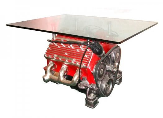 V8 Engine Table with Glass Top