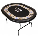 Premium Compact 8 Person Poker Table with Folding Metal Legs (PT2400BL)
