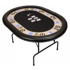 Premium Compact 8 Person Poker Table with Folding Legs (PT2400BLK)