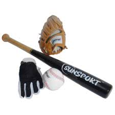 Sunsport Baseball Gloves, Bat & Ball