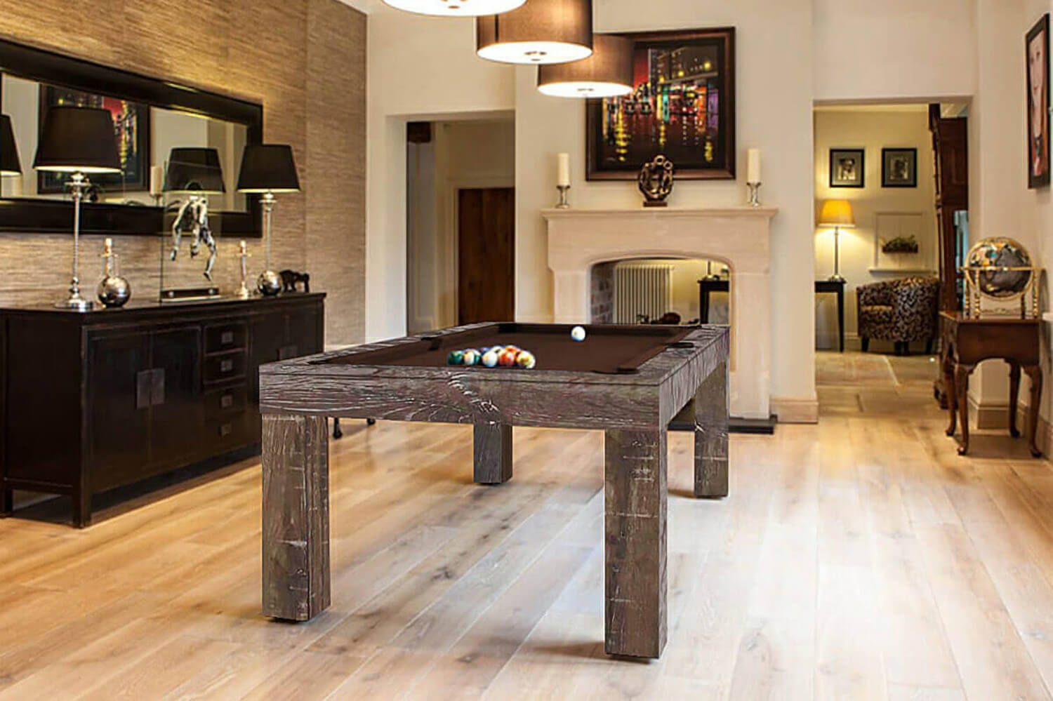 Duo milano oak pool dining table liberty games Pool dining table
