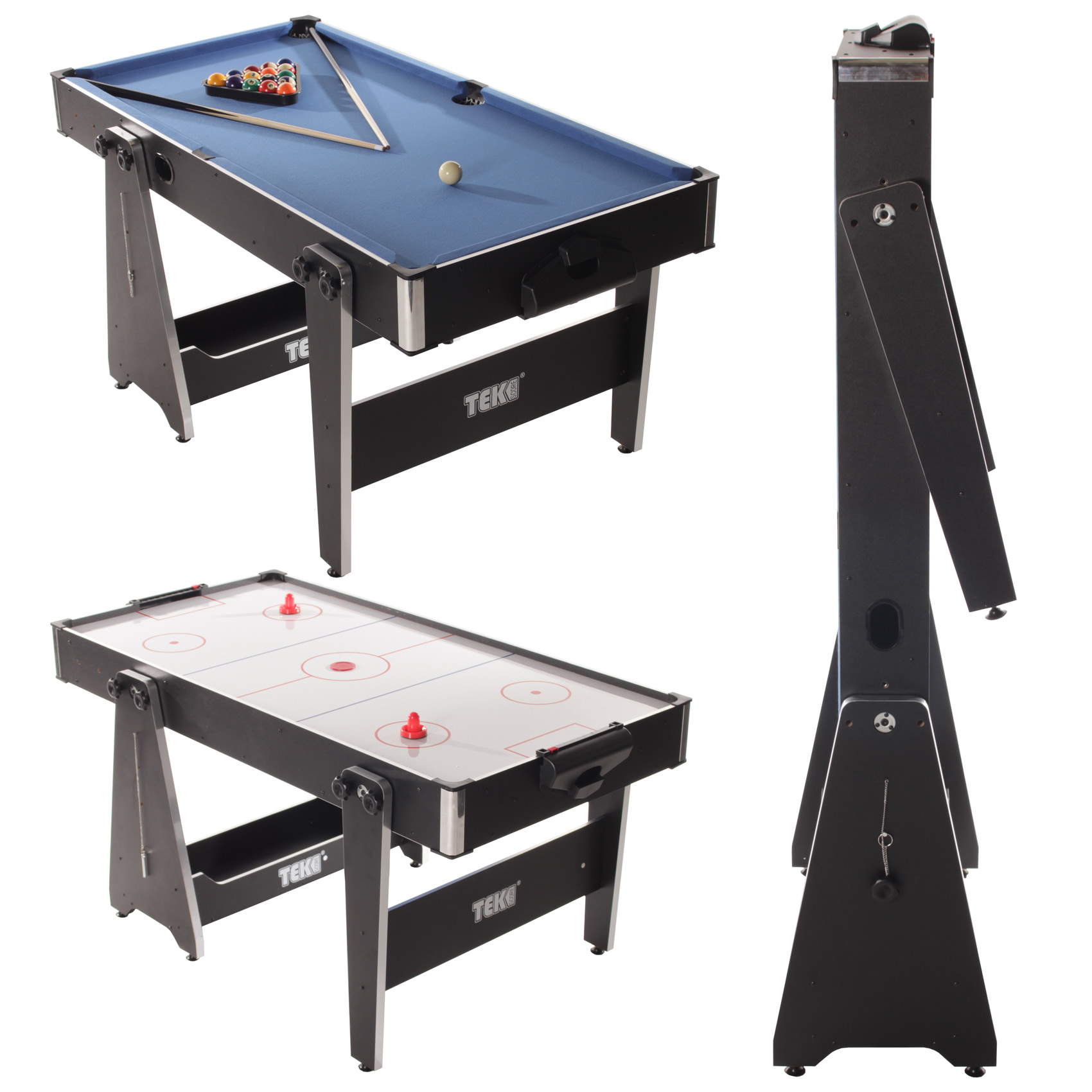 Tekscore 5 foot folding leg multi games table liberty games for Table retractable