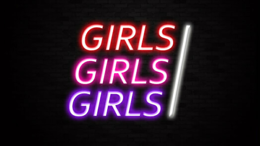 Girls Girls Girls Neon Bar Sign
