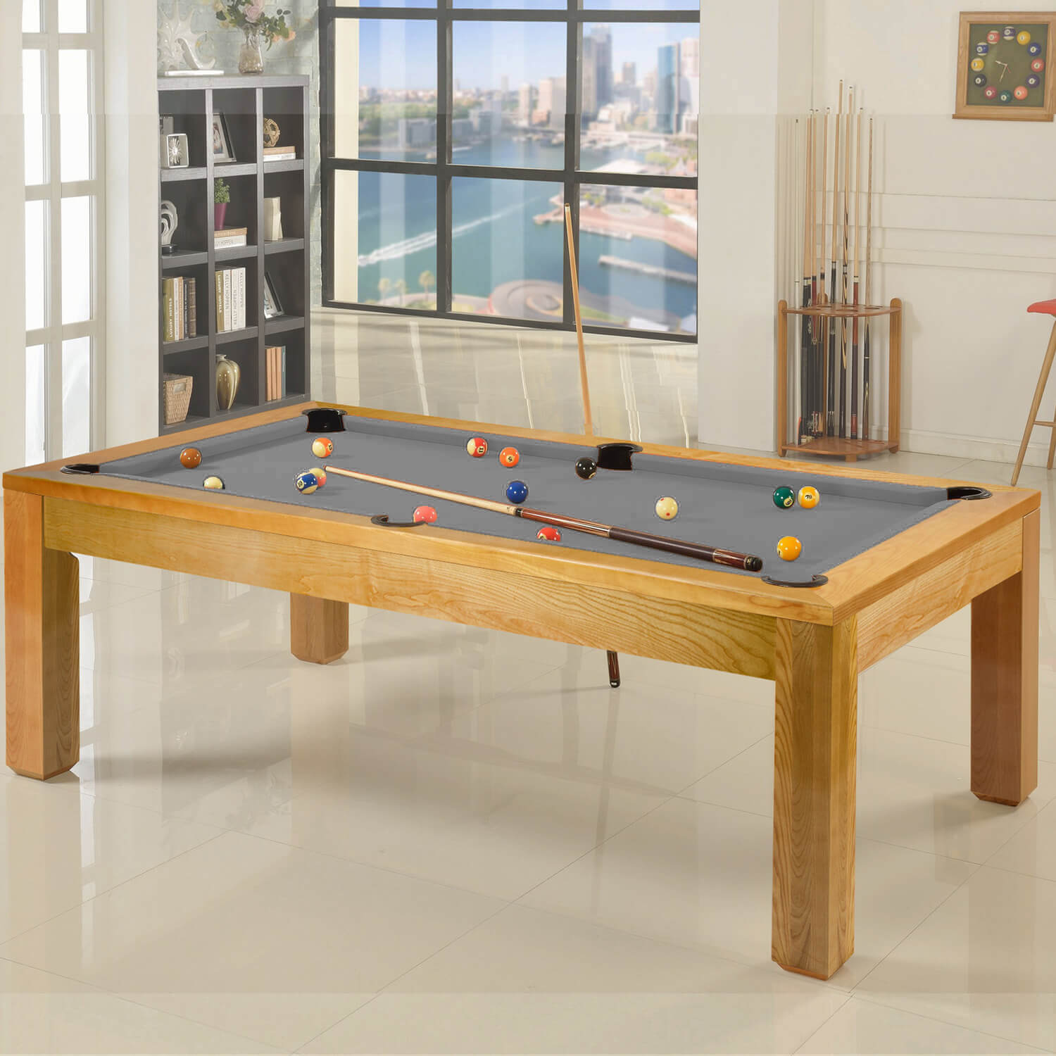 The Precision 10ft Solid Oak Slate Bed Pool Dining Table