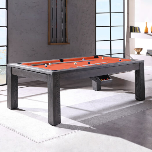 Pureline Lux Grey Solid Oak Slate Bed Pool Dining Table