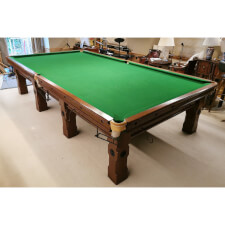 Fully Refurbished 12ft Early 1900s Solid Wood Slate Bed Snooker Table