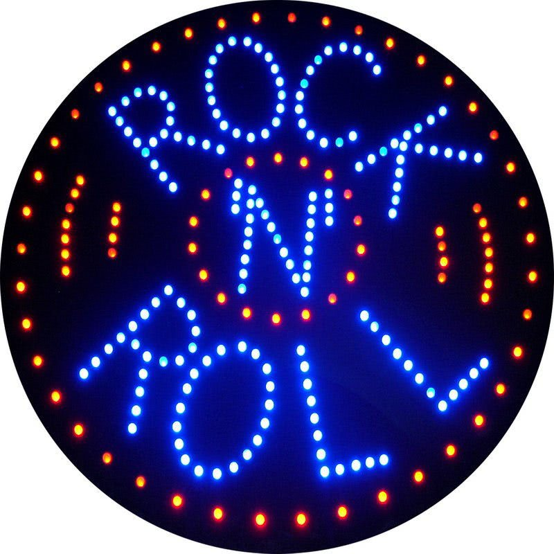 Rock 'N' Roll LED Wall Sign | Liberty Games Rock Wall Clip Art Free