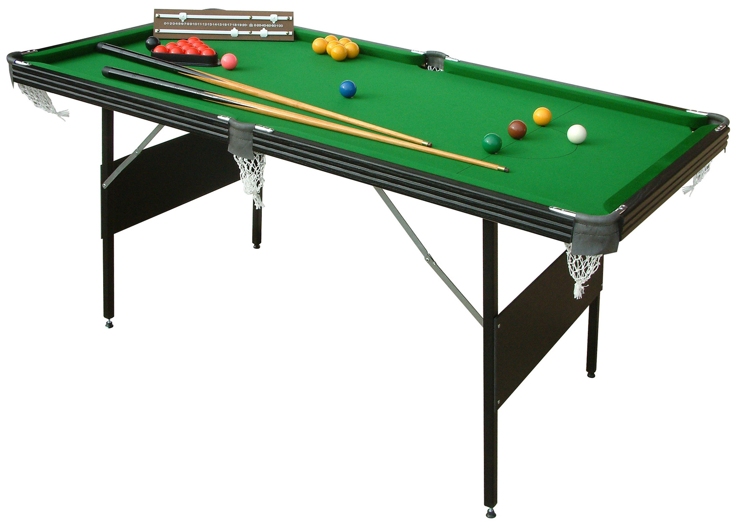 Crucible 6 foot 2 in 1 folding snooker pool table for 10 games in 1 table