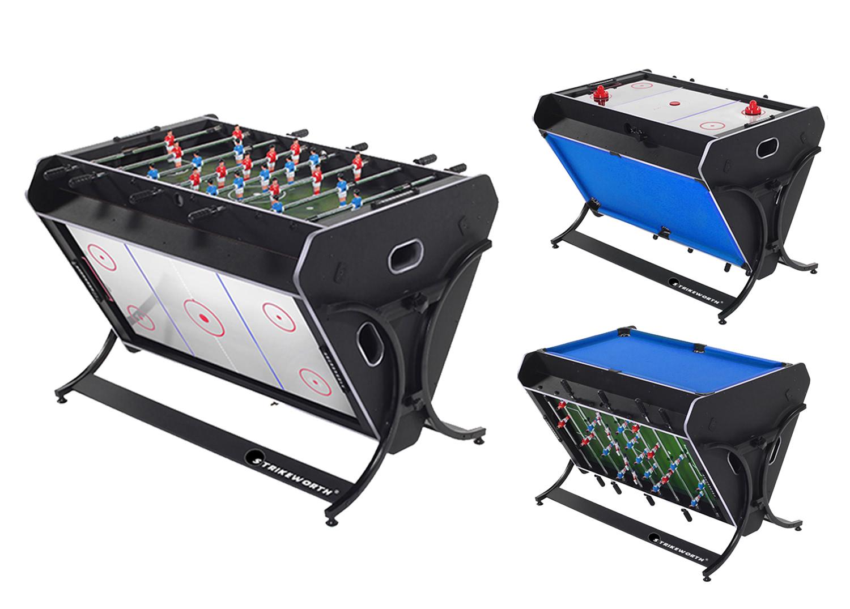 strikeworth trisport multi games table pool air hockey foosball. Black Bedroom Furniture Sets. Home Design Ideas