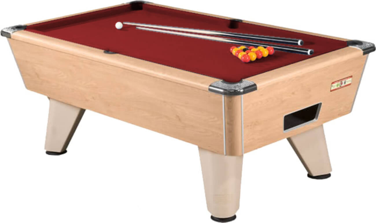 Supreme winner pool table 6 ft 7 ft 8 ft liberty games supreme winner slate bed pool table table finish oak cloth colour burgundy greentooth Image collections