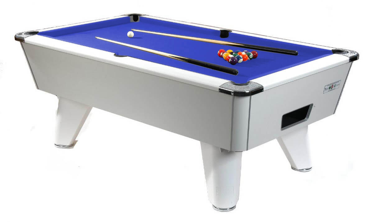 Supreme winner pool table 6 ft 7 ft 8 ft liberty games supreme winner slate bed pool table table finish white pearl cloth colour greentooth Image collections
