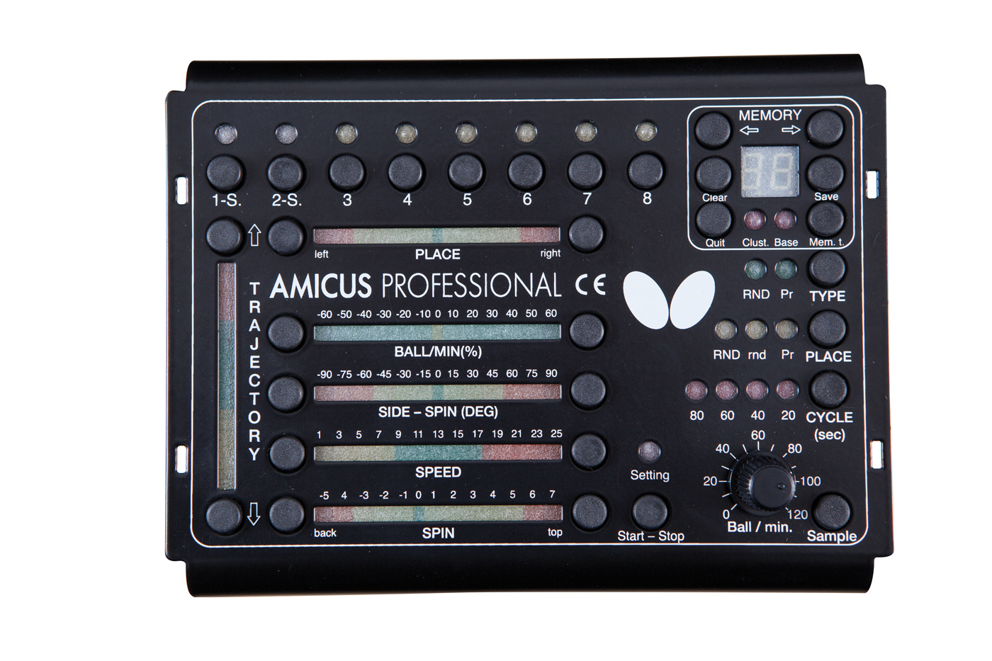 Amicus Professional table tennis robot control panel