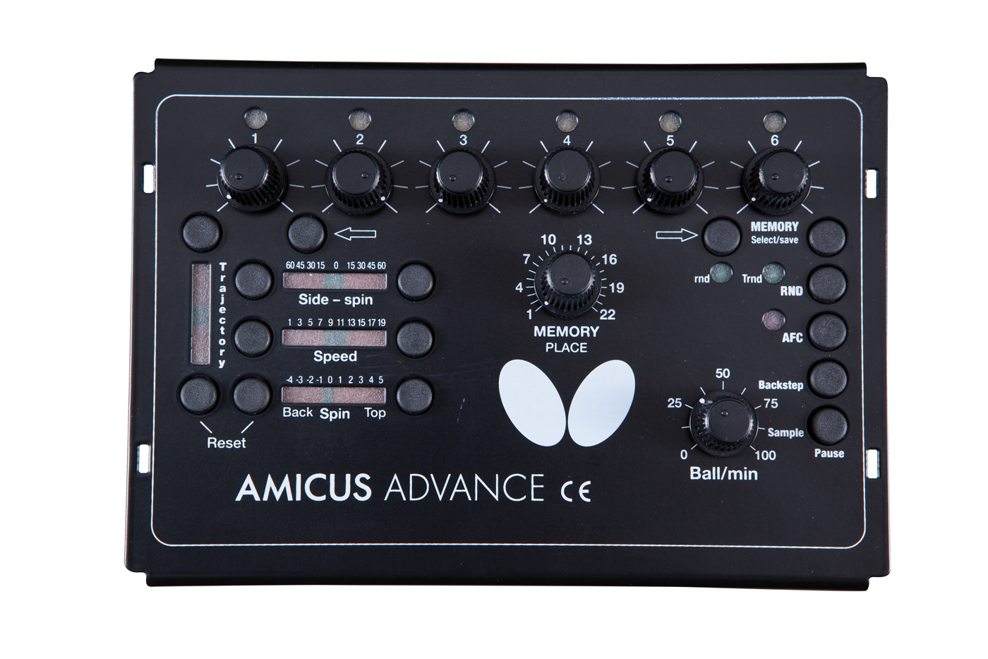 Amicus Advance table tennis robot control panel