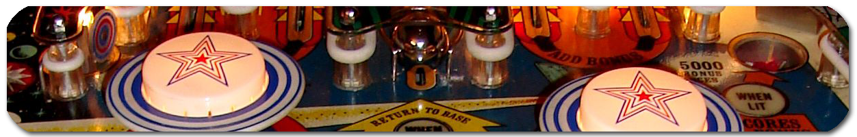 Detail of Buck Rogers pinball machine playfield.