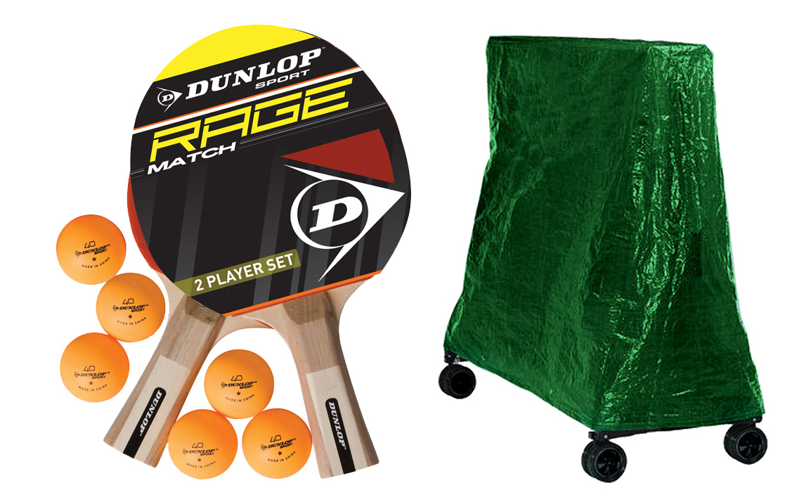 Accessories supplied with the Dunlop TTo4 tennis table.