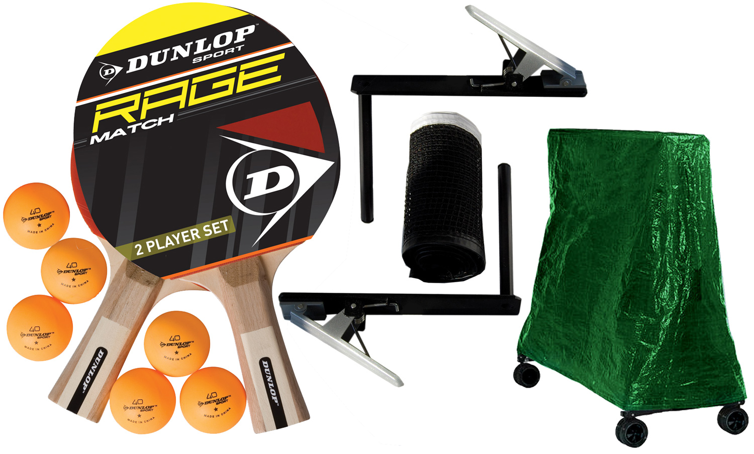 Accessories supplied with the Dunlop outdoor range of table tennis tables.