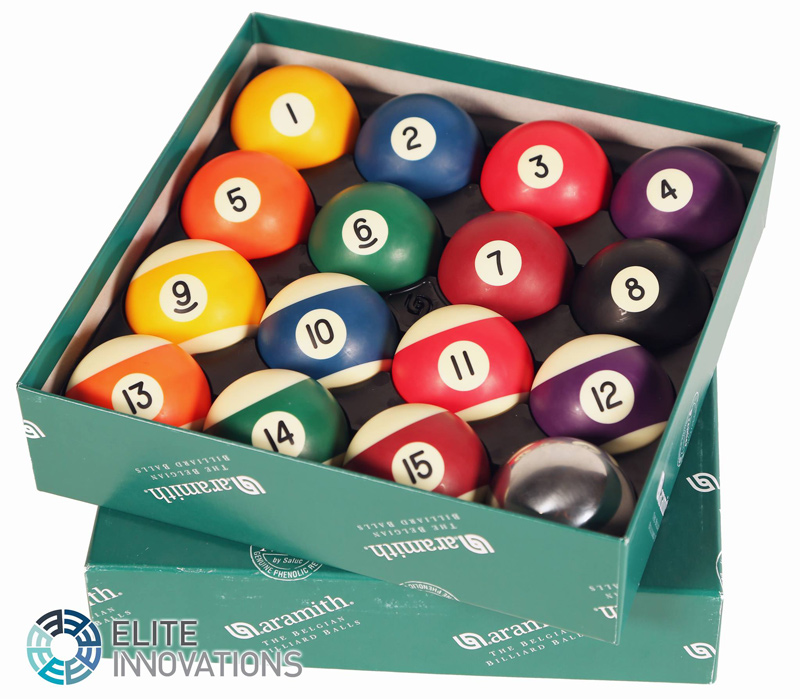 Specially-treated pool balls for the Elite Innovations pool table range