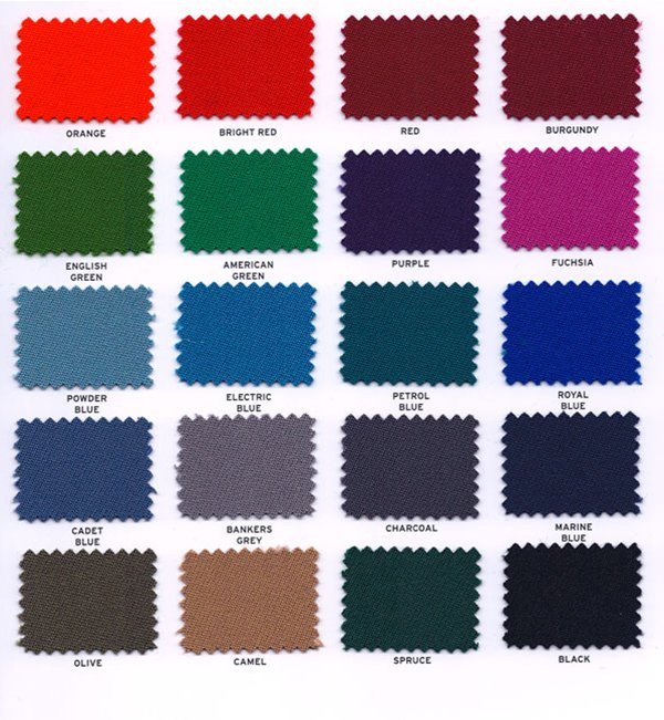 Hainsworth Elite-Pro cloth swatches for the Zen Luxury pool table