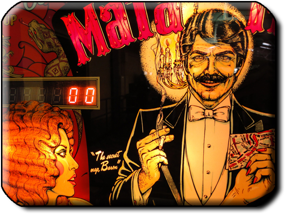 Backboard detail from the Bally Mata Hari pinball machine