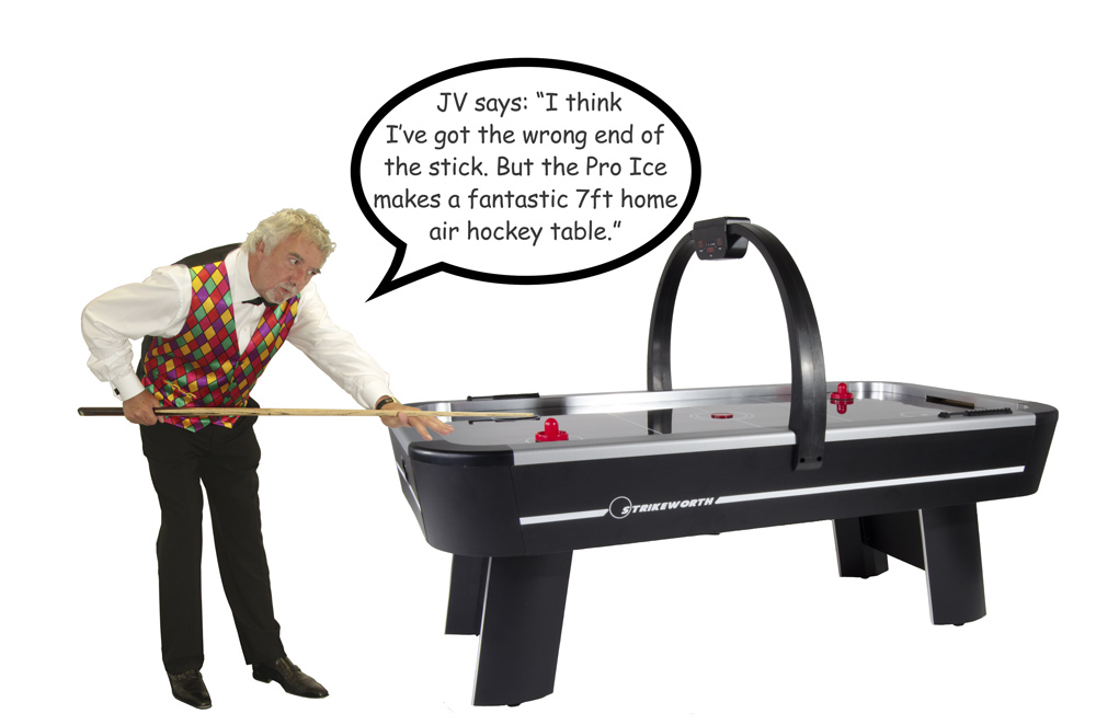 Pool player JV endorses the Pro Ice air hockey table