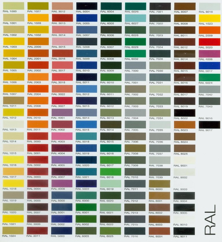 RAL colour chart for Picasso games table finish options