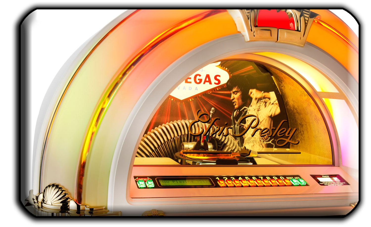 Detail of the Elvis jukebox's CD window.