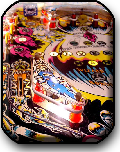 Silverball Mania pinball machine playfield detail
