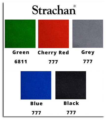 A swatch showing five different Strachan cloth colours available on DPT pool tables