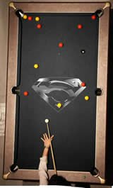 Pool Table with Superman Branding