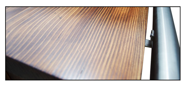 Detail of the solid oak worktop on the Traditional home bar