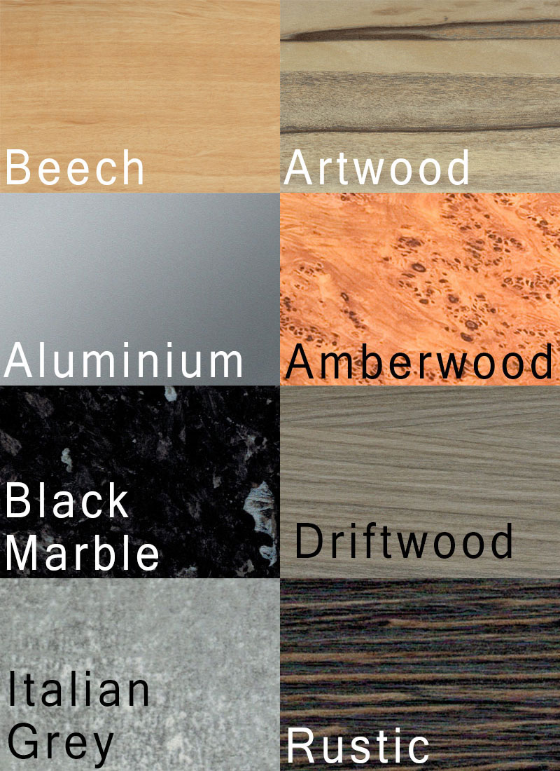 Swatches for the upgraded finish options on the Supreme Winner pool table.