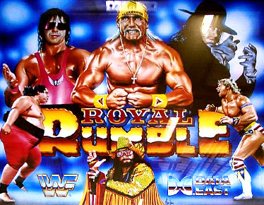 Backglass art for the WWF Royal Rumble pinball